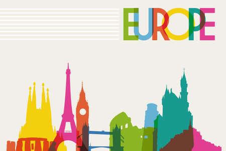 여행: 유럽의 다양성 기념물, 유명한 랜드 마크 색상의 투명성. 벡터 일러스트 레이 션 쉬운 조작 및 사용자 지정 색상에 계층. 일러스트