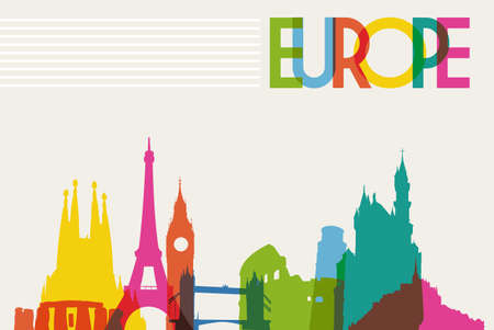 famous: 多樣性歐洲古蹟,著名的標誌性顏色的透明度。矢量插圖分層,便於操作和定制著色。 向量圖像