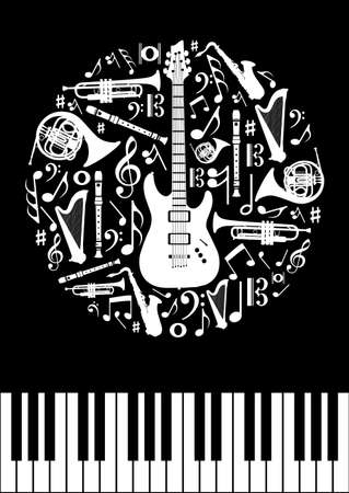 Music concept circle shape with instrument silhouettes  in black background. Vector illustration layered for easy manipulation and custom coloring.