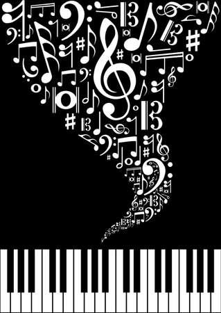 piano: Musical splash concepto de fondo con notas y siluetas de instrumentos. Ilustraci�n vectorial en capas para la manipulaci�n f�cil y colorante de encargo.