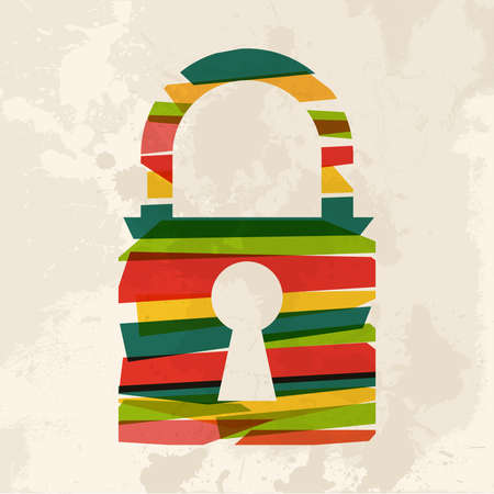 transparency: Diversity colors transparent bands padlock over grunge background. This illustration contains transparency and is layered for easy manipulation and custom coloring.