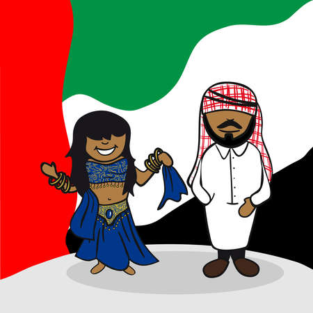 Arabic man and woman cartoon couple with national flag background. Vector illustration layered for easy editing. Vector