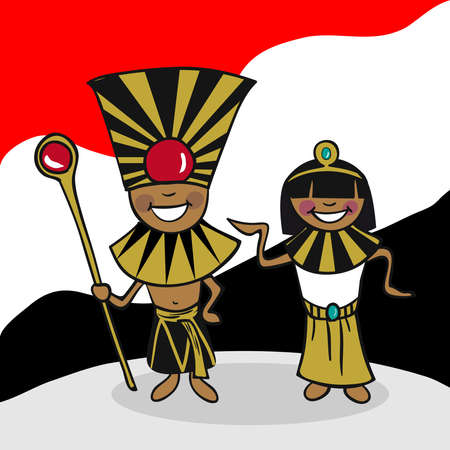 pharaoh: Egyptian man and woman cartoon couple with national flag background. Vector illustration layered for easy editing.