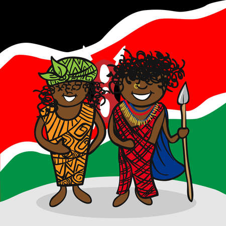 Kenyan man and woman cartoon couple with national flag background. Vector illustration layered for easy editing. Vector