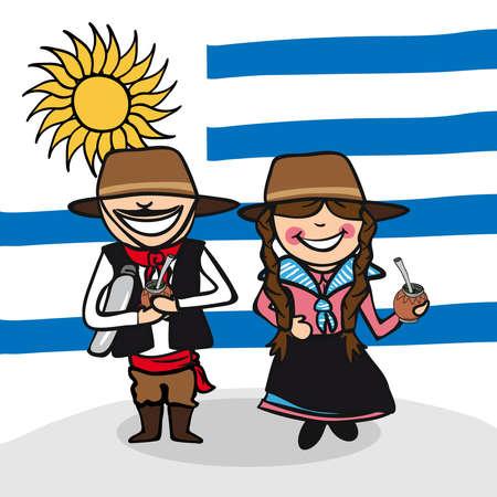 bandera de uruguay: Hombre uruguayo y el dibujo de mujer joven con el fondo de la bandera nacional. Ilustración vectorial en capas para facilitar la edición.