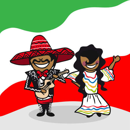 Mexican man and woman cartoon couple with national flag background. Vector illustration layered for easy editing.