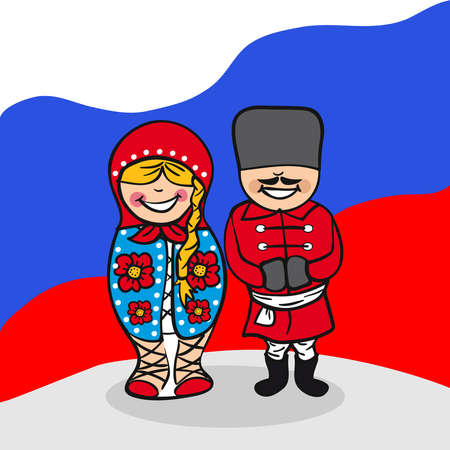 diversidad: Hombre ruso y el dibujo de mujer joven con el fondo de la bandera nacional. Ilustración vectorial en capas para facilitar la edición.