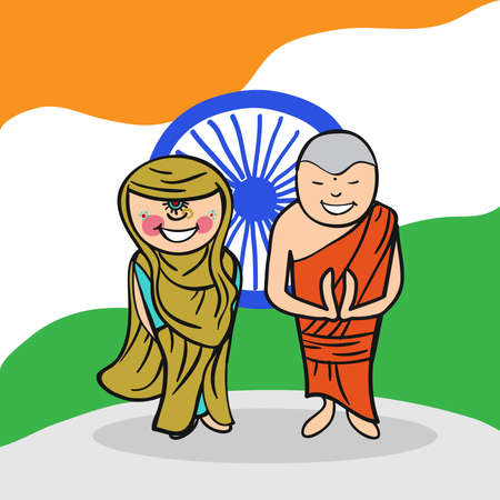 multi ethnic group: Indian man and woman cartoon couple with national flag background. Vector illustration layered for easy editing. Illustration