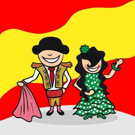 spanish woman: Spanish man and woman cartoon couple with national flag background. Vector illustration layered for easy editing.