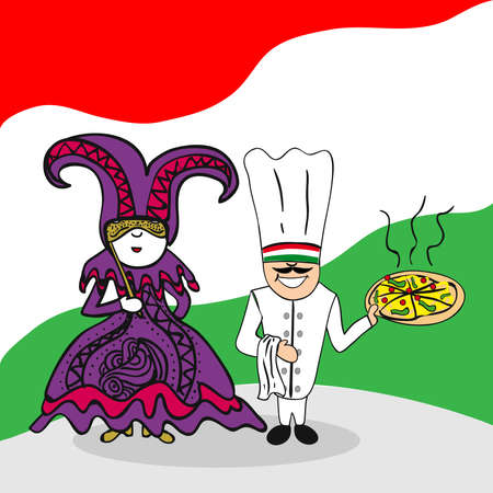 national costume: Italian man and woman cartoon couple with national flag background. Vector illustration layered for easy editing.