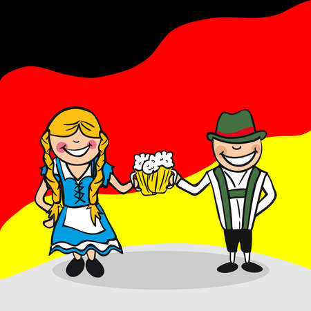 german food: German man and woman cartoon couple with national flag background. Vector illustration layered for easy editing.