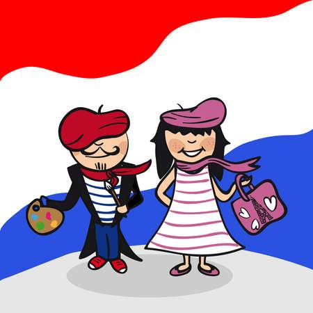 francia: Hombre franc�s y pareja de dibujos animados mujer con el fondo de la bandera nacional. Ilustraci�n vectorial en capas para facilitar la edici�n.
