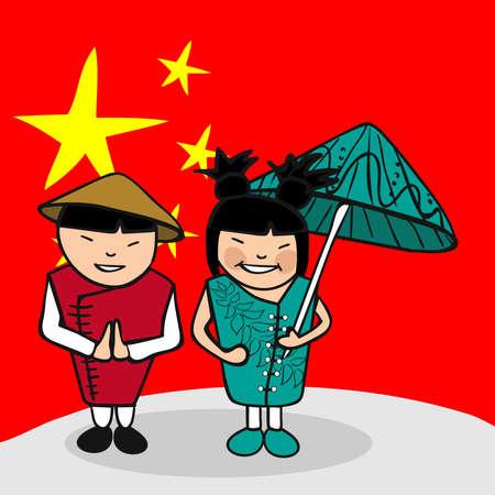 Chinois et femme couple de dessin animé avec un fond de drapeau national. Illustration vectorielle couches pour l'édition facile.