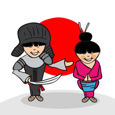 Japanese man and woman cartoon couple with national flag background. Vector illustration layered for easy editing. Vector