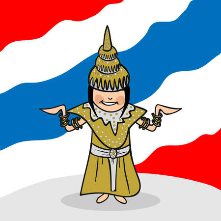 Thai woman cartoon couple with national flag background. Vector illustration layered for easy editing. Vector
