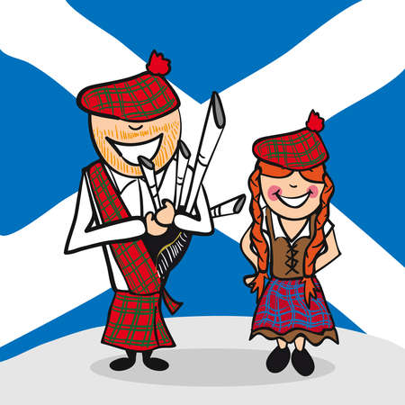 Scottish man and woman cartoon couple with national flag background. Vector illustration layered for easy editing. Vector