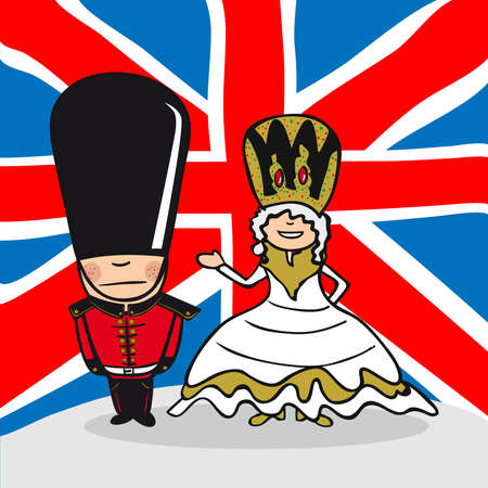 english culture: English man and woman cartoon couple with national flag background. Vector illustration layered for easy editing. Illustration