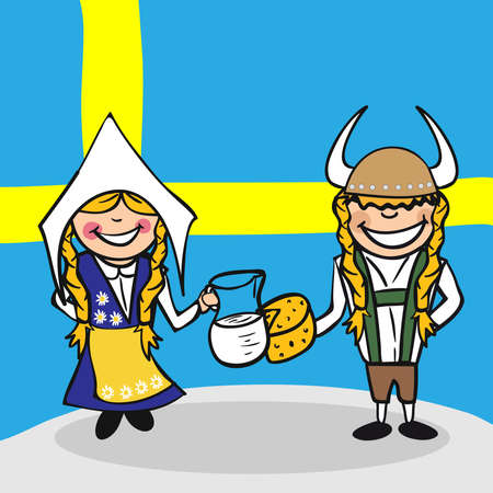swedish: Swedish man and woman cartoon couple with national flag background. Vector illustration layered for easy editing.