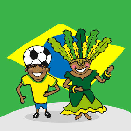 Brazilian man and woman cartoon couple with national flag background. Vector illustration layered for easy editing.