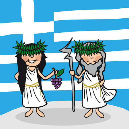 greek flag: Greek man and woman cartoon couple with national flag background. Vector illustration layered for easy editing.