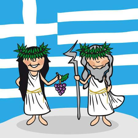 Griechischen Mann und Frau Cartoon Paar mit den nationalen Flagge Hintergrund. Vektor-Illustration für die einfache Bearbeitung geschichtet.