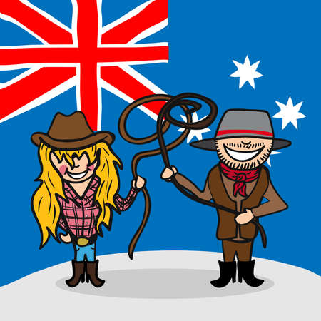national cultures: Australian man and woman cartoon couple with national flag background. Vector illustration layered for easy editing.