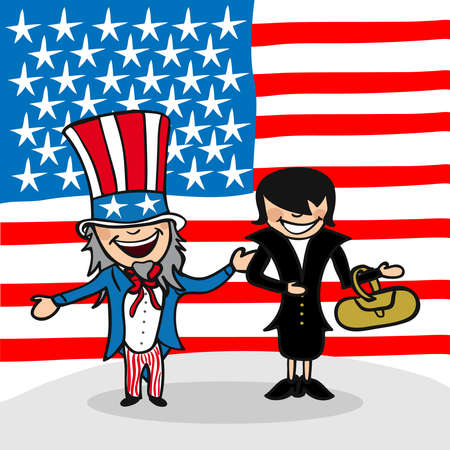 American man and woman cartoon couple with national flag background. Vector illustration layered for easy editing. Vector