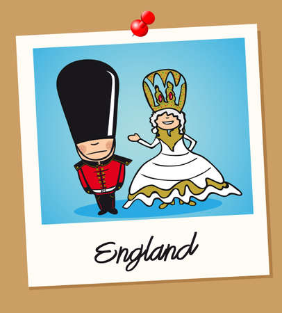 cultural clothing: English man and woman cartoon couple in vintage instant photo frame. Vector illustration layered for easy editing.