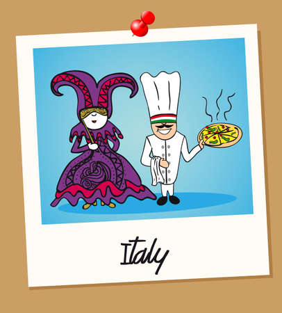 national costume: Italian man and woman cartoon couple in vintage instant photo frame. Vector illustration layered for easy editing.