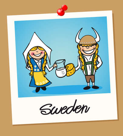 multi ethnic: Swedish man and woman cartoon couple in vintage instant photo frame. Vector illustration layered for easy editing.