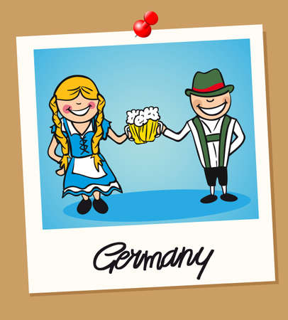 German man and woman cartoon couple in vintage instant photo frame. Vector illustration layered for easy editing. Illustration
