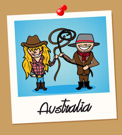 Australian man and woman cartoon couple in vintage instant photo frame. Vector illustration layered for easy editing.