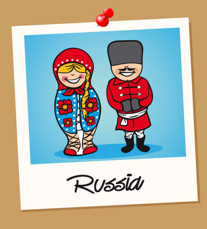 Russian man and woman cartoon couple in vintage instant photo frame. Vector illustration layered for easy editing. Illustration
