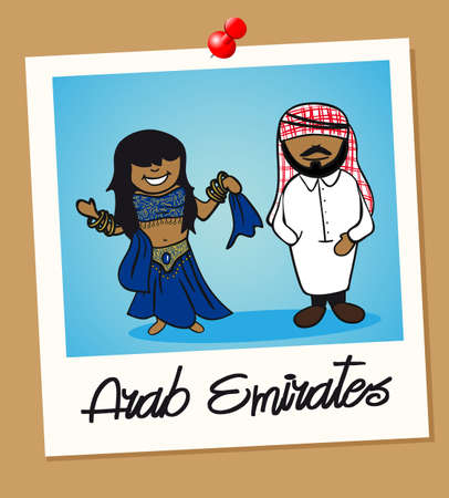 multi ethnic group: Arabic man and woman cartoon couple in vintage instant photo frame. Vector illustration layered for easy editing.