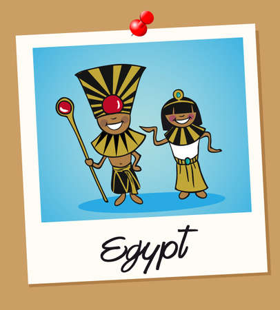 Egyptian man and woman cartoon couple in vintage instant photo frame. Vector illustration layered for easy editing.