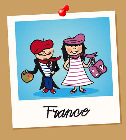 French man and woman cartoon couple in vintage instant photo frame. Vector illustration layered for easy editing. Illusztráció