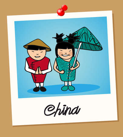 national costume: Chinese man and woman cartoon couple in vintage instant photo frame. Vector illustration layered for easy editing.