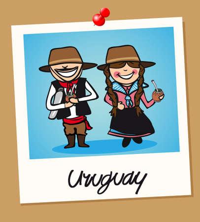 Uomo uruguaiano e donna coppia cartoon in cornice foto istantanea vintage. Illustrazione vettoriale strati di facile montaggio. Archivio Fotografico - 20602975