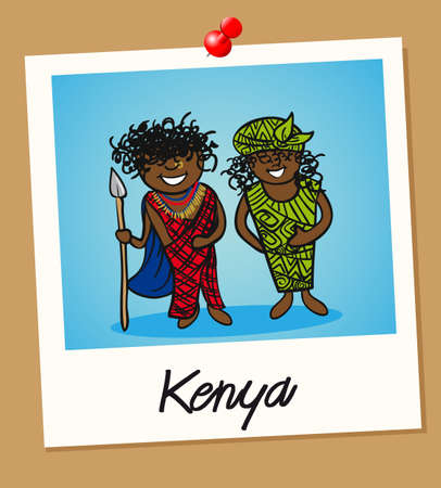 kenya: Kenyan man and woman cartoon couple in vintage instant photo frame. Vector illustration layered for easy editing.