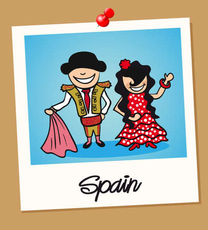Spanish man and woman cartoon couple in vintage instant photo frame. Vector illustration layered for easy editing. Vector