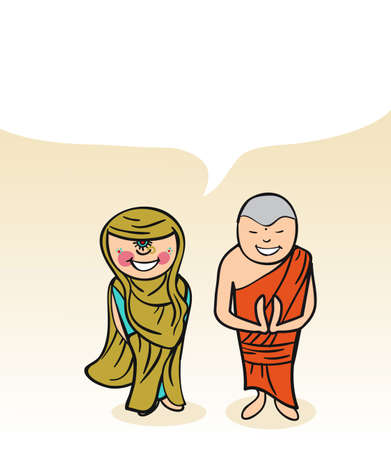 multi cultural: Indian man and woman cartoon couple with dialogue bubble. Vector illustration layered for easy editing.