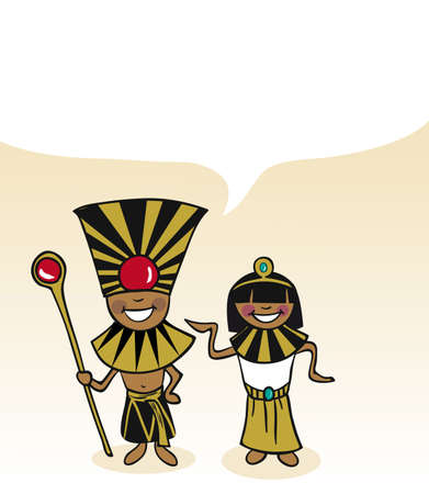 multi ethnic group: Egyptian man and woman cartoon couple with dialogue bubble. Vector illustration layered for easy editing.