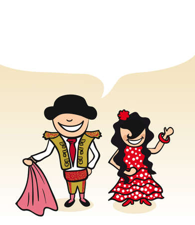 Spanish man and woman cartoon couple with dialogue bubble. Vector illustration layered for easy editing. Vector