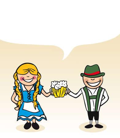 Hombre alemán y el dibujo de mujer joven con la burbuja de diálogo. Ilustración vectorial en capas para facilitar la edición.