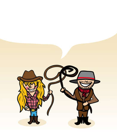 oceania: Australian man and woman cartoon couple with dialogue bubble. Vector illustration layered for easy editing.