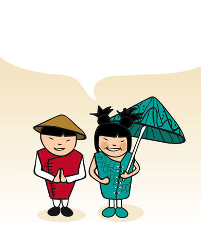 Chinese man and woman cartoon couple with dialogue bubble. Vector illustration layered for easy editing. Vector