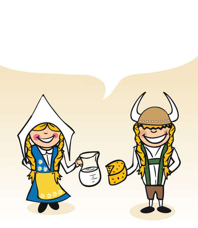 Swedish man and woman cartoon couple with dialogue bubble. Vector illustration layered for easy editing.