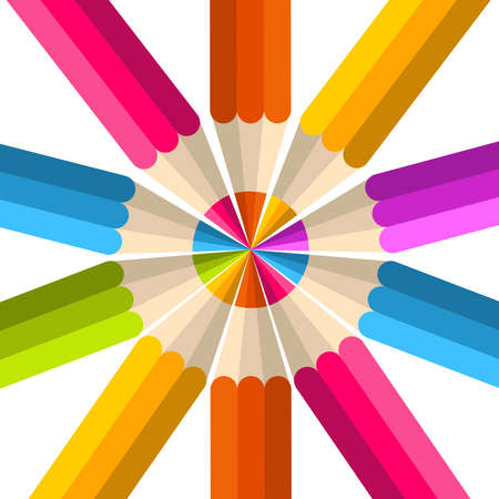 wooden circle: Colorful rainbow pencil mandala. Vector illustration layered for easy manipulation and custom coloring.  Illustration