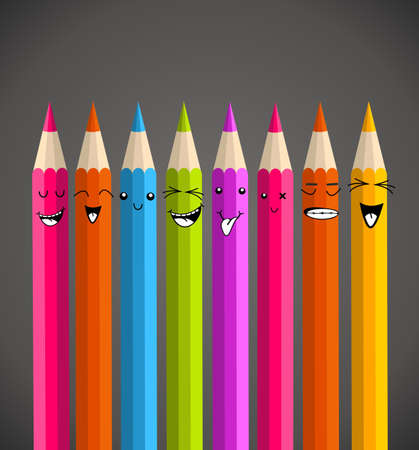 Colorful rainbow pencil, happy face cartoon. Vector illustration layered for easy manipulation and custom coloring. Vector