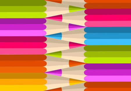 Colorful rainbow pencil banner seamless pattern background. Vector illustration layered for easy manipulation and custom coloring. Vector